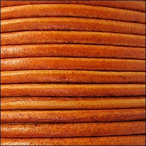2mm Round Euro Leather Cord - Distressed Orange - per foot