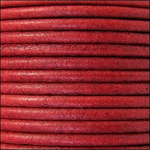 2mm Round Leather Cord - Distressed Red