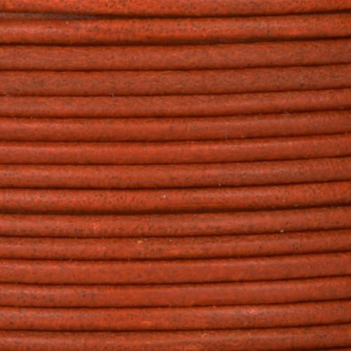 2mm Round Leather Cord - Rust