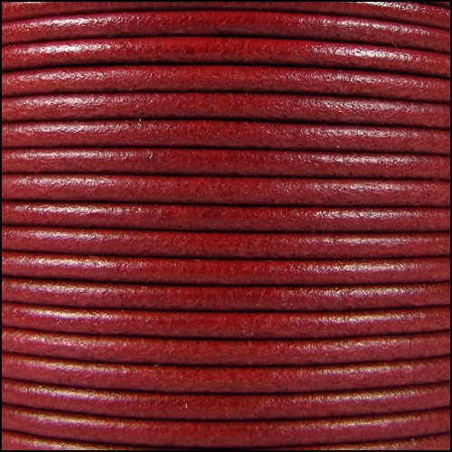 2mm Round Mediterranean Leather Cord - Red - per foot