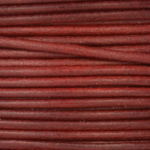 2mm Round Mediterranean Leather Cord - Wine - per foot