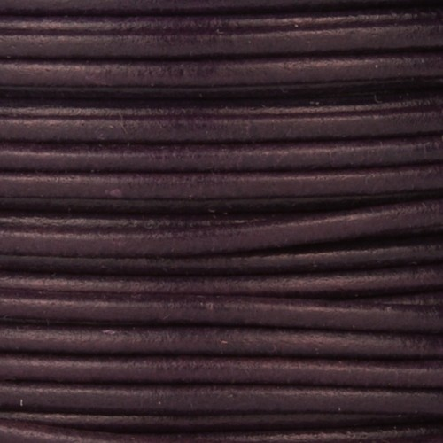 2mm Round Leather Cord - Dark Purple