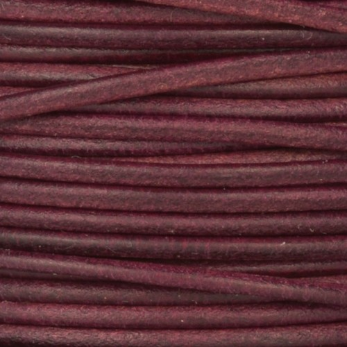 2mm Round Leather Cord - Mulberry