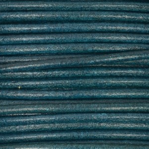 2mm Round Leather Cord - Teal