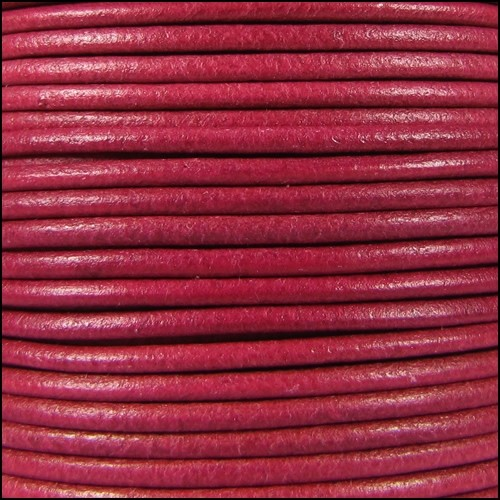 2mm Round Leather Cord - Fuchsia