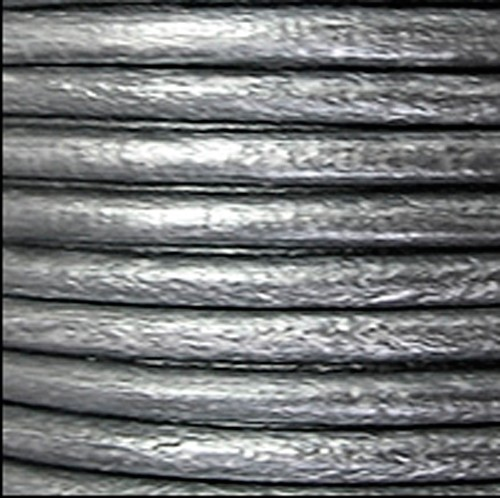 2mm Round Leather Cord - Metallic Silver