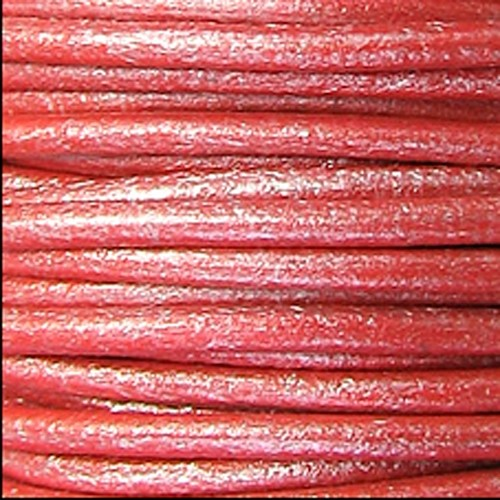 2mm Round Leather Cord - Metallic Coral