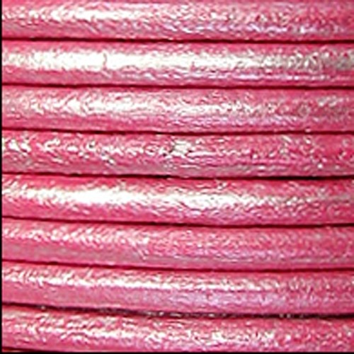 2mm Round Leather Cord - Metallic Fuchsia