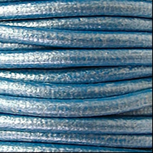 2mm Round Euro Leather Cord - Metallic Sky Blue - per foot