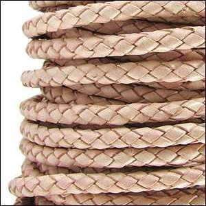 Braided 3mm Round Leather Cord - Natural