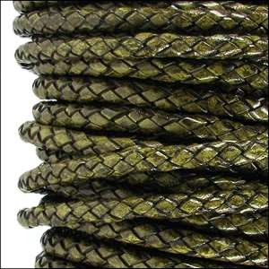 Braided 3mm Round Leather Cord - Distressed Green