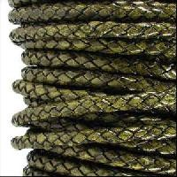 Braided 3mm Round Leather Cord - Distressed Green - per inch
