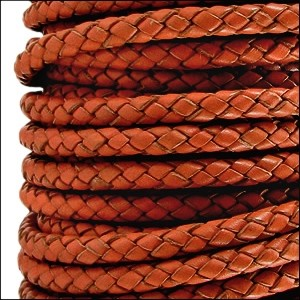 Braided 3mm Round Leather Cord - Distressed Orange - per inch