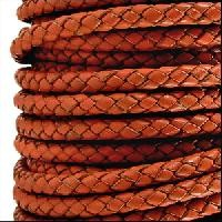 Braided 3mm Round Leather Cord - Distressed Orange