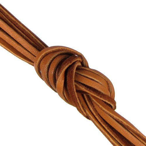 Deerskin 3mm Flat Lace Cord - Dark Saddle