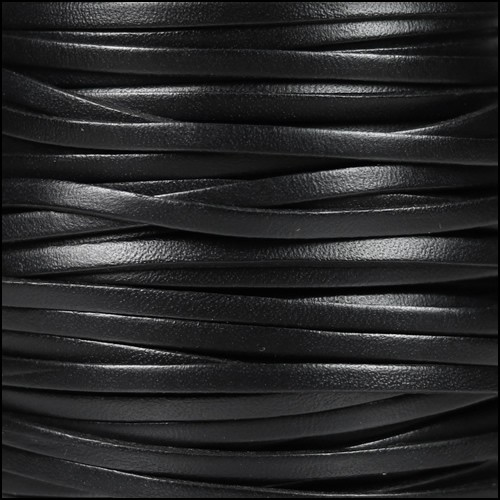 3mm Flat Leather Cord - Black