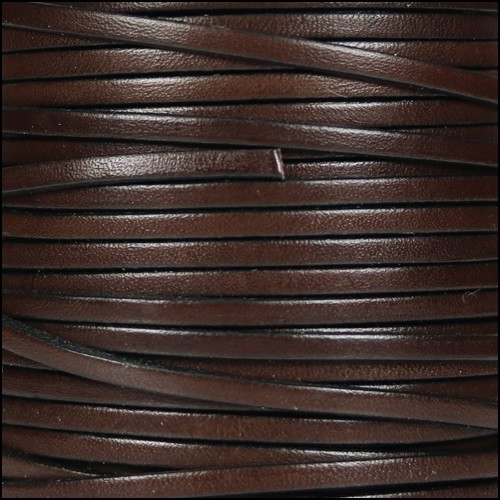 3mm Flat Leather Cord - Chocolate Brown