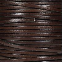 3mm Flat Leather Cord - Chocolate Brown - per inch