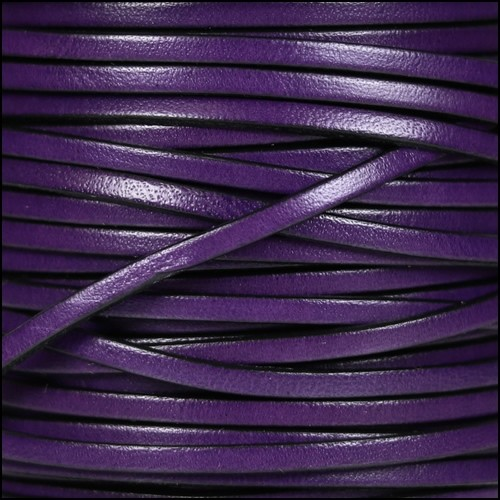 3mm Flat Leather Cord - Deep Purple