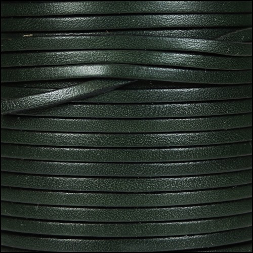 3mm Flat Leather Cord - Army Green - per inch
