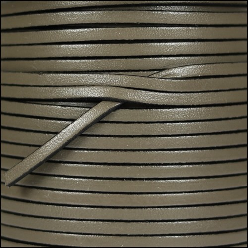 3mm Flat Leather Cord - Putty