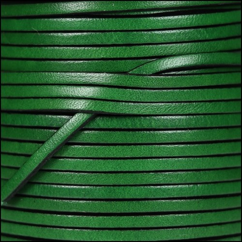 3mm Flat Leather Cord - Bottle Green