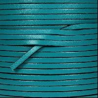 3mm Flat Leather Cord - Turquoise - per inch