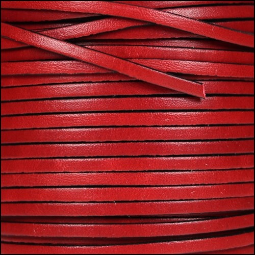3mm Flat Leather Cord - Red