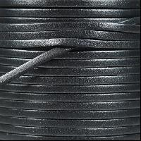 3mm Flat Leather Cord - Metallic Graphite