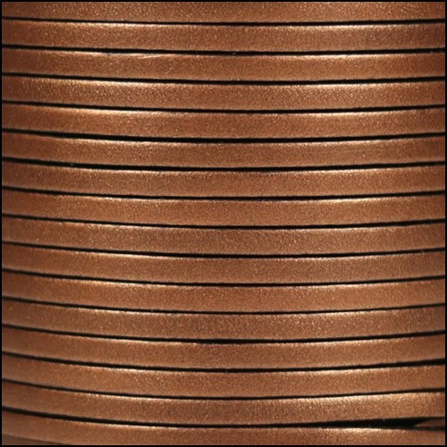 3mm Flat Leather Cord - Metallic Dark Copper