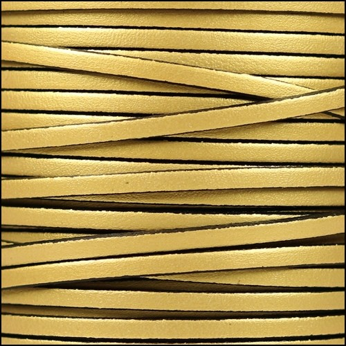 3mm Flat Leather Cord - Metallic Gold