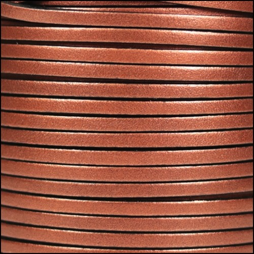 3mm Flat Leather Cord - Metallic Antique Copper