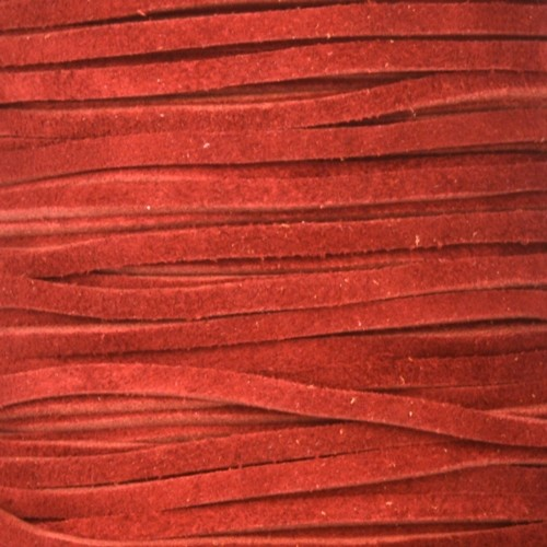 Suede 3mm FLAT Leather Cord - Red - per yard