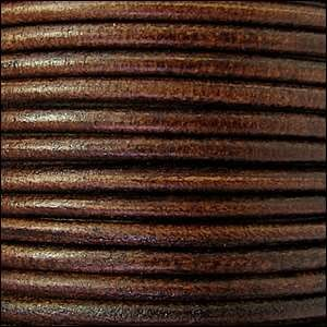 3mm Round Leather Cord - Distressed Brown
