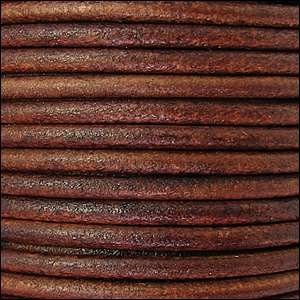 3mm Round Leather Cord - Tobacco