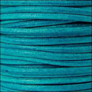 3mm Round Euro Leather Cord - Distressed Turquoise - per inch