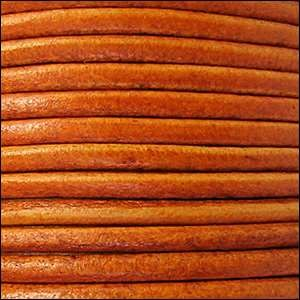 3mm Round Leather Cord - Distressed Orange