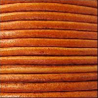 3mm Round Euro Leather Cord - Distressed Orange