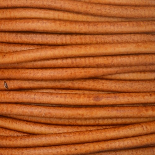 3mm Round Leather Cord - Camel