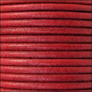 3mm Round Euro Leather Cord - Distressed Red - per inch