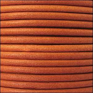 3mm Round Leather Cord - Burnt Orange