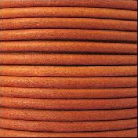 3mm Round Euro Leather Cord - Burnt Orange - per inch