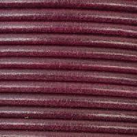 3mm Round Mediterranean Leather Cord - Plum - per inch