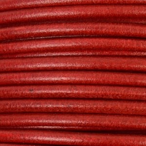 3mm Round Leather Cord - Dark Red