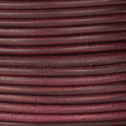 3mm Round Leather Cord - Mulberry