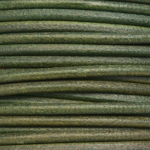 3mm Round Leather Cord - Forest Green