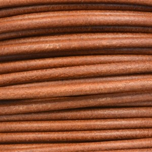3mm Round Leather Cord - Light Brown