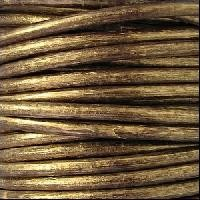 3mm Round Euro Leather Cord - Metallic Gold / Brown - per inch