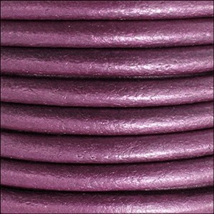 3mm Round Euro Leather Cord - Metallic Orchid - per inch