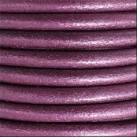 3mm Round Leather Cord - Metallic Orchid
